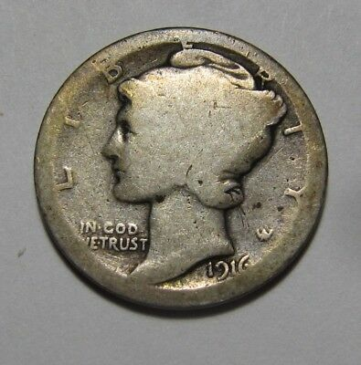 1916 D Mercury Dime - About Good Condition - 93SA