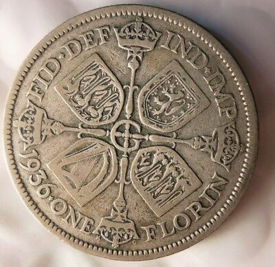 1936 GREAT BRITAIN FLORIN - Uncommon Date Silver Coin - Lot #J20