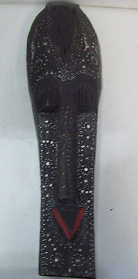 """African Tribal Mask Carved Wood  Made in Ghana 20"""" x 5 1/4"""" Free Shipping M1 H5"""