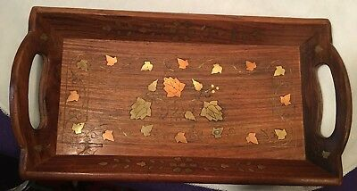 Vintage Mid-Century Brass Copper Inlaid Wood Marquetry Serving Tray