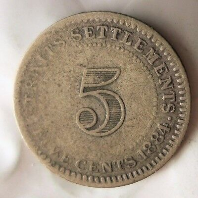 1884 STRAITS SETTLEMENTS 5 CENTS - VERY Rare Silver Coin - Lot #J20