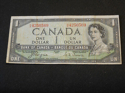 1954 Bank of Canada $1 Canadian Money - Devil's Face -  H/A 4250569 Coyne/Towers