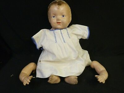 """Antique Composition Baby Doll Unmarked For Parts Repair 16"""""""