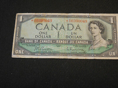 1954 Bank of Canada $1 Canadian Money -- Replacement * Note with Low Serial No.