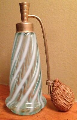 Vintage Fenton Blue Opalescent Optic Swirl Glass Perfume Made For Devilbiss