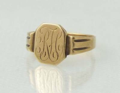 Antique Art Deco Estate 10K Solid Yellow Gold Engraved Signet Ring*size 7.50