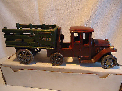 """Cast Iron toy  Delivery  coal hardware  truck 11"""" speed"""