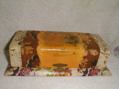 Antique Victorian Celluloid Dresser Vanity  Box Flowers