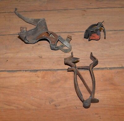 Antique hand corn sheller husker rare farm tool collectible cast iron pliers lot