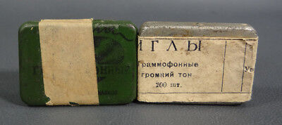 1950s Vintage Soviet Russian Gramophone Phonograph Needles Tins Full Sealed Lot