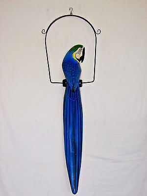 """39"""" Beautiful Yellow & Blue Parrot On Swing Wood Hand Painted Carved Bird"""