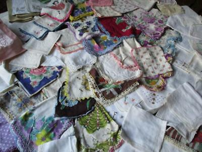 Lot of 60 Vtg HANKIES / HANDKERCHIEFS / WHITE / LACE / FLORAL / PRINT/ & More