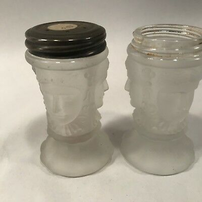 EAPG Antique VTG Glass Frosted 3 Three Ladies Shaker Set Pair Lot J8314d