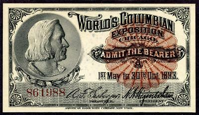 HGR SATURDAY 1893 Expo Ticket ((Columbus)) Appears GEM UNCIRCULATED
