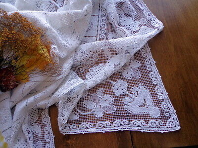 "Antique Italian TABLECLOTH White Handmade Lace 76"" BOSA Sardinia Exquisite!"