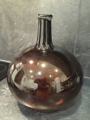 24188 Handblown c-1820 Amber brown Glass french Demijohn bottle carboy IV