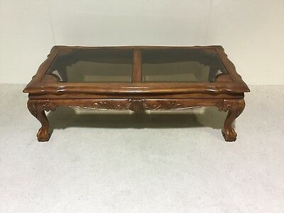 Reproduction mahogany coffee table Chippendale design ball and claw foot leg