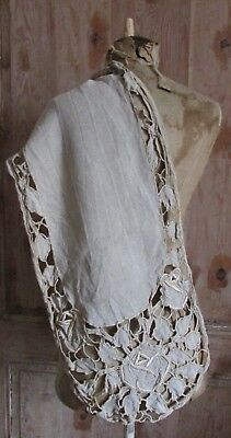 BEAUTIFUL ANTIQUE FRENCH HANDMADE CUT WORK LINEN EMBROIDERED TABLE RUNNER c1900