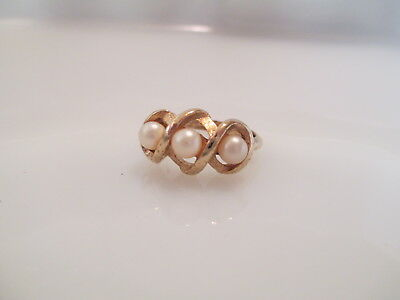 Vintage Estate Signed Avon Triple Twist Ring In Original Box With Sleeve.(Os78)