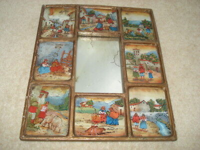 Unusual C1880S Small Mirror With Eight Hand Painted Latin American?type Pictures