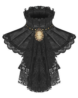 PUNK RAVE DONNA STEAMPUNK JABOT colletto Foulard CRAVATTA PIZZO NERO GOTHIC