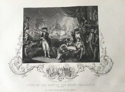 "1850's Engraving Of ""scene On The Deck Of The Queen Charlotte 1794"