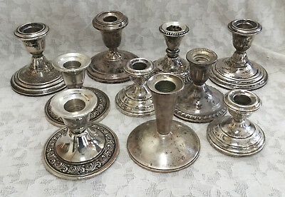 Large Lot of Sterling Candlesticks - Weighted scrap - Over 5 Pounds
