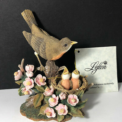 LEFTON ROBIN BIRD FIGURINE vintage 1998 sam nakamura 11812 tag statue sculpture