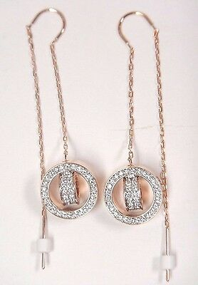 819589368 Hollow Long Pierced Earrings White Rose Gold 2017 Swarovski Jewelry #5349340