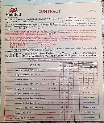 Vintage 1926 Gargoyle Mobiloil Vacuum Oil Co. Auto Dealer Contract