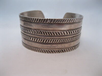 Lot 76 - Great Old Navajo Guild Period Filed & Stamped Silver Bracelet