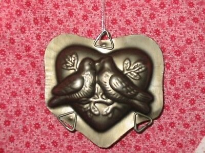 Vintage Style Lovebirds Heart Metal Chocolate Mold Ornament Valentine Xmas