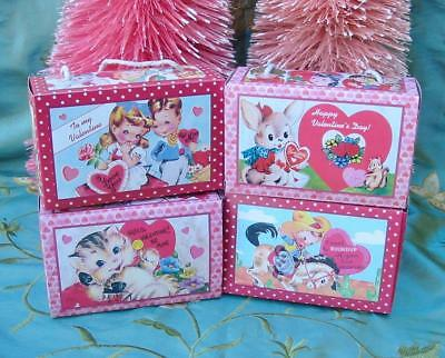 Bethany Lowe Sweet Valentine's Day Paper Treat Boxes Set of 4 New