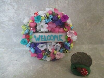 """Miniature Large Doll/dollhouse 2 1/2"""" WELCOME FLORAL WREATH #2"""