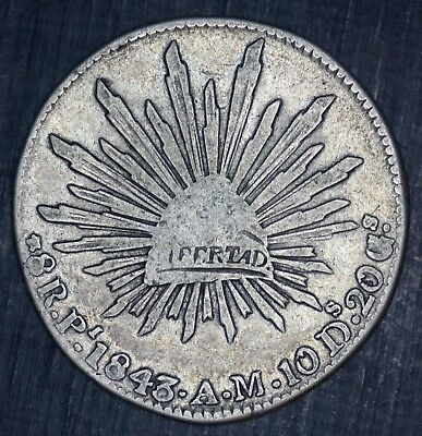1843 Pi AM Flat Top 3 Mexico 8 Reales Silver Coin - KM# 377.12