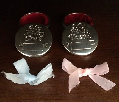 My First Curl / Tooth Baby Keepsake Set Silver Metal Boxes Pink/Blue Hair Ribbon
