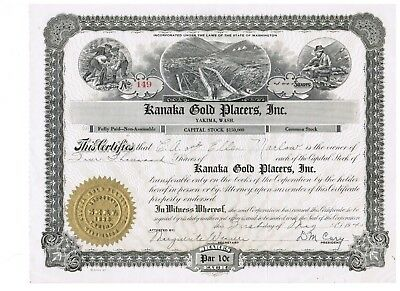 2 Kanaka Gold Placers Stock Certificates and 10+ related documents!
