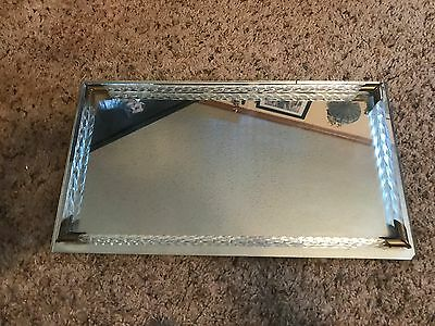 Vintage Mid Century Modern Mirrored Glass Footed Perfume Dresser Vanity Tray