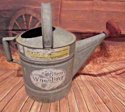Vintage Large Galvanized Metal Watering Can With  Handles Primitive (B)