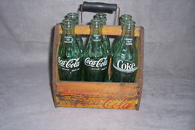 Early Vintage Wooden Coca Cola Six Pack Bottle Carrier Wood Coke Caddy War Wings