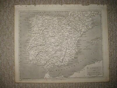 Superb Fine Antique 1805 Spain Portugal Arrowsmith And Lewis Copperplate Map Nr