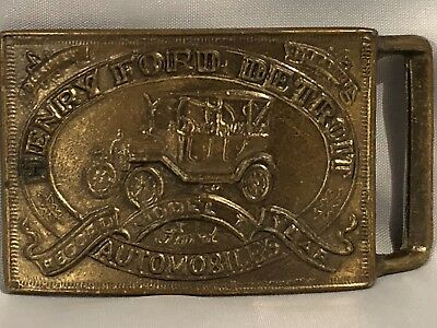 """Vintage Henry Ford Detroit Solid Brass Belt Buckle """"Model T Record Year"""""""