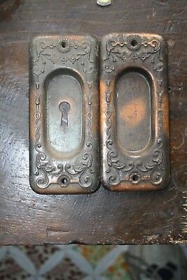 Pair of Antique Pocket Door Pull Plates Lot A