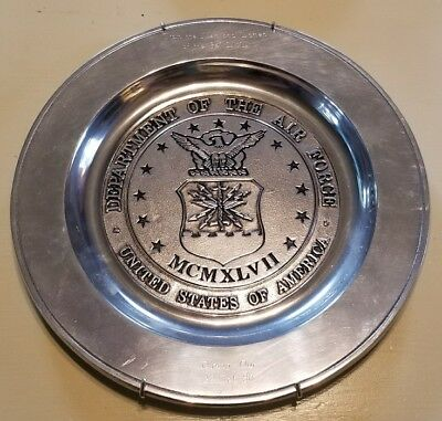 """UNITED STATES AIR FORCE PEWTER WALL HANGING METAL PLATE USAF Inscribed 11"""" 341st"""