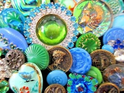 BUTTONS Victorian Mix of VINTAGE & NEW Glass & Metal & Rhinestone Blue & Green
