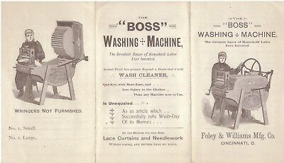 2 Circa 1890's Adv. Mailers - Boss Washing Machine - Diamond Corn Sheller