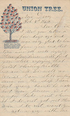 Original  letter American Civil War Union Tree  1862