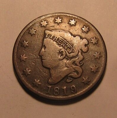 1819/8 Coronet Head Large Cent Penny - NICE Circulated Condition - 77SU