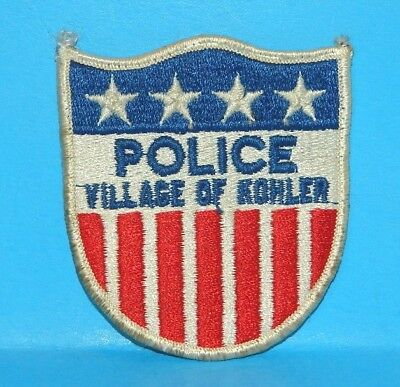 """Wisconsin, POLICE, VILLAGE OF KOHLER Patch, Used, measures 3 3/8"""" tall X 3"""" wide"""