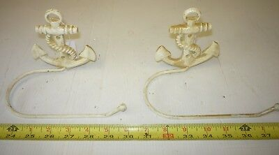 Cast Iron White Boat Ship Anchor Towel Hanger Hook Toilet Roll Holder